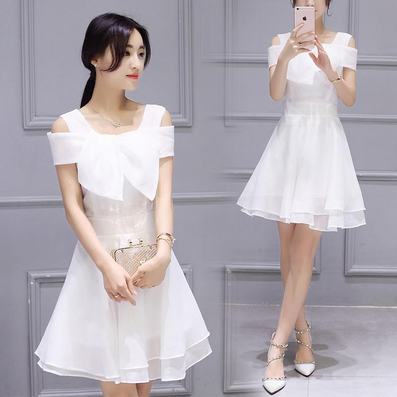 Women Cute Chiffon Dresses 2016 New Elegant Slash Neck Short Sleeve Bow White Dress Slim Off Shoulder A-line Mini Vestidos S-XXL(China (Mainland))