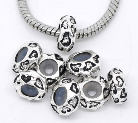 20Pcs Silver Tone Heart Stoppers With Rubber Spacer Beads Fit European Charms Bracelets 11x5mm(China (Mainland))