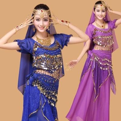 New style belly dance set clothes indian performance wear 4pcs-7pcs Short sleeve&amp;Skirt&amp;Belt&amp;Headband&amp;Bracelet&amp;Necklace&amp;EarringsОдежда и ак�е��уары<br><br><br>Aliexpress