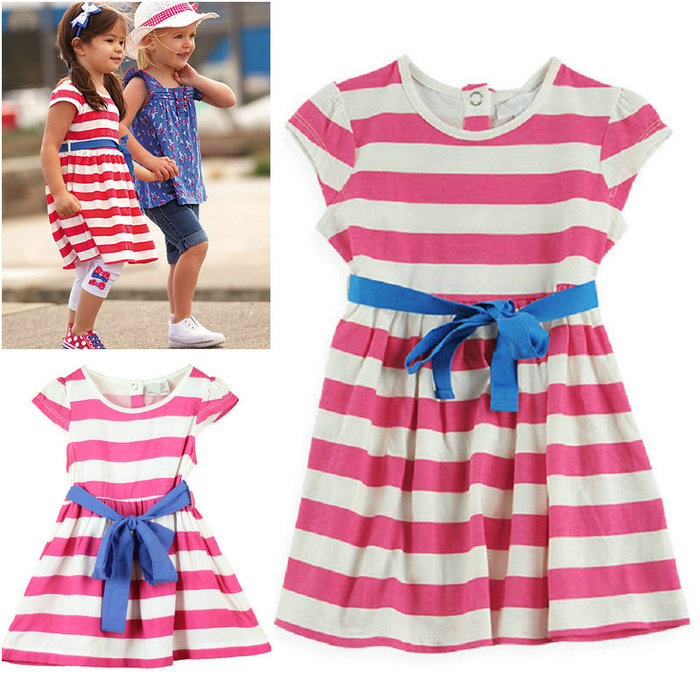 cotton 2015 summer child clothes girls dress baby princess sleeveless striped dresses children clothing(China (Mainland))