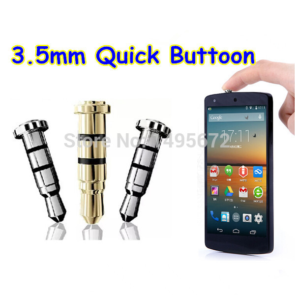 Smart Quick button click gadget 3.5mm Earphone Jack dustproof Plug for Samsung S5 S4 Note 3 4 Klick key Android Smart phone(China (Mainland))