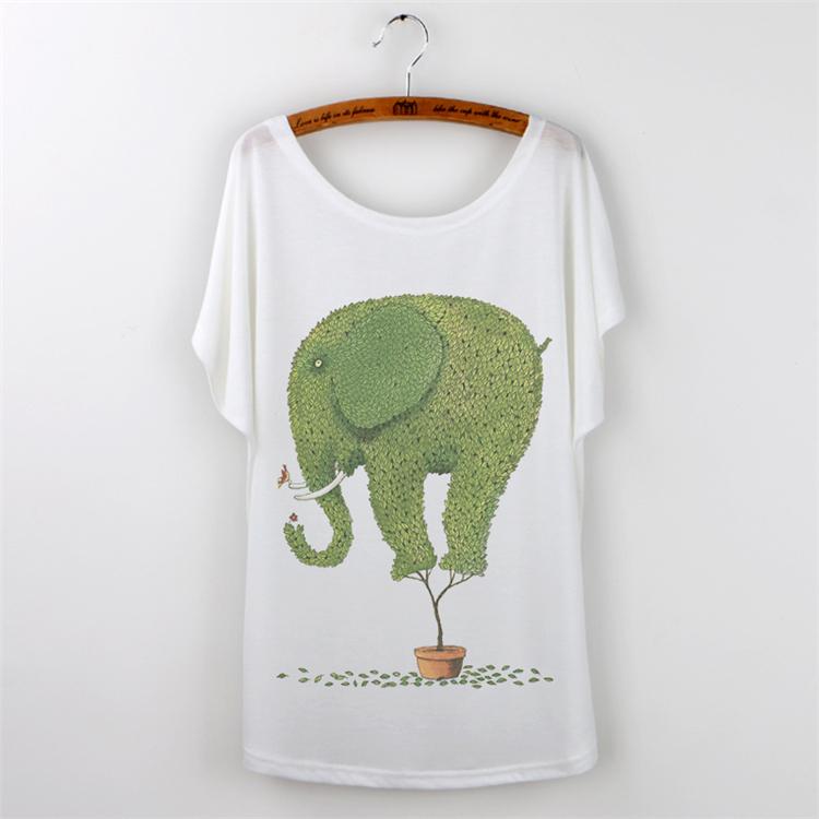 Tshirt Women Tops 2015 Casual Camisetas mujer Plus Size Batwing Sleeve T-shirt Women T Shirt Cartoon Elephant Print graphic Tees(China (Mainland))