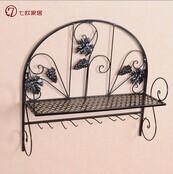 Семь отт европейский стиле сад сварочное железо вино стойка стена подвесной чаша держатели