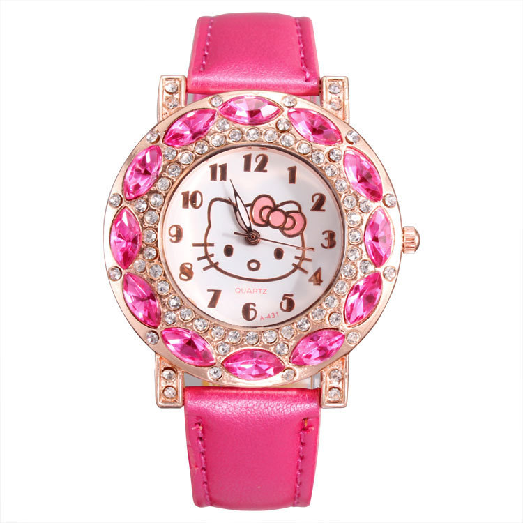 Holiday Sale High Quality Leather Hello Kitty Watch Children Women Dress Crystal Quartz Wrist Watch Relojes Drop Free Shipping(China (Mainland))