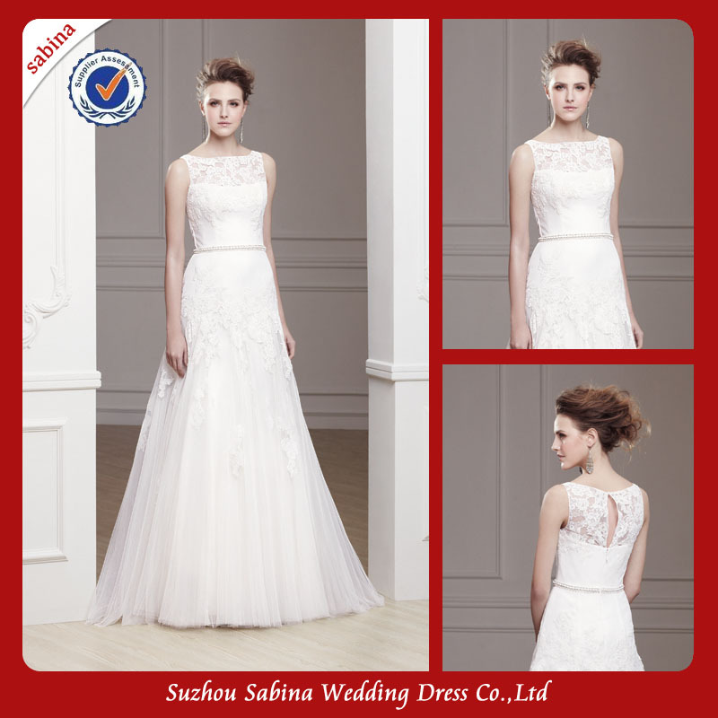 Simple Wedding Dress High Neck : Wy floor touching irish lace simple wedding desses