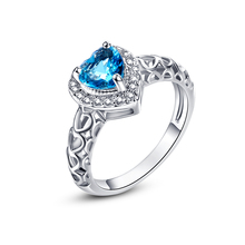 JROSE Wedding Band Jewelry Love Engagement Rings for Women Heart London Blue Topaz White CZ Diamond 18K White Gold Fashion Ring(China (Mainland))