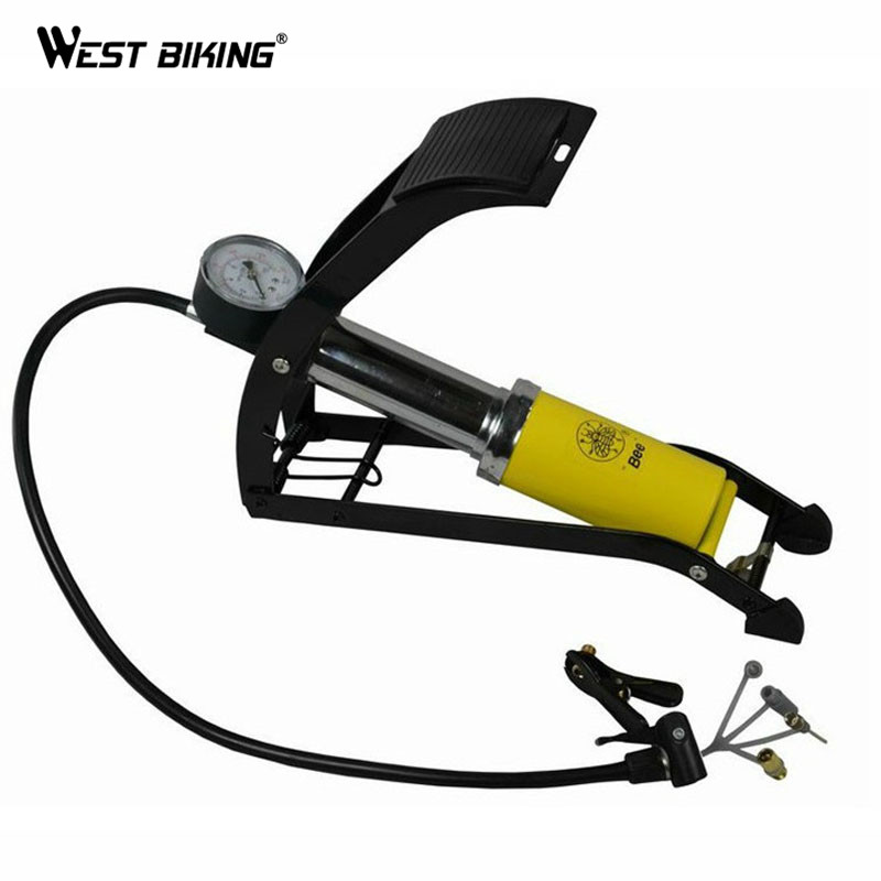 WEST BIKING Pressure Single Cylinder Foot Portable Bicycle Pump Electric Cars Bike Motorcycle Soccer Volleyball Inflatable Pump(China (Mainland))