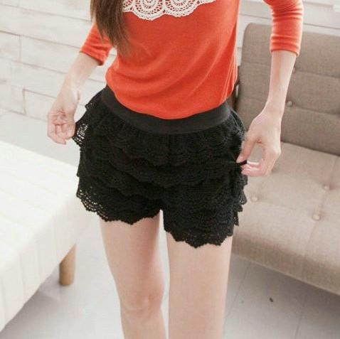 Korean sweet style lace shorts, cascading lace ruffles short pant, vintage free shipping W3006(China (Mainland))