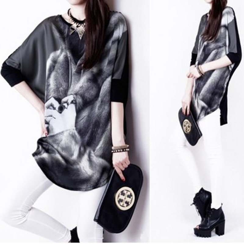 2014 summer fashion plus size clothing long design batwing sleeve half t-shirt loose o-neck basic shirt - jim yue's store