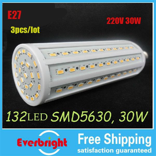 Здесь можно купить  30W E27 5630smd 360 degree 132LED Corn Bulb 220V Warm White / white High Luminous Efficiency led Light Lamp 1pcs/lot  Свет и освещение