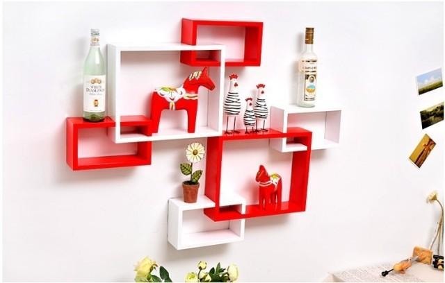 Drie stuk thuis decoratieve 3d houten wandplank creatieve rooster houten latwerk - Latwerk houten ...