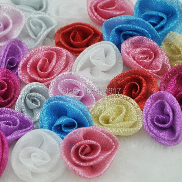 20 pcs Mesh Ribbon Metallic Glitter Rose Wedding Party Sewing Appliques Crafts A080(China (Mainland))