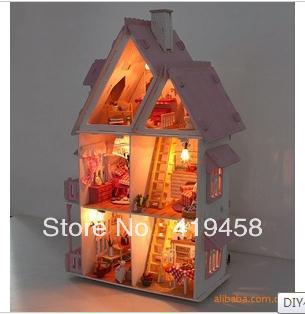 Free Shipping Kids 3d Puzzles DIY Sunshine Alice Wooden House Model  with Lamps Wooden Toys Big Size