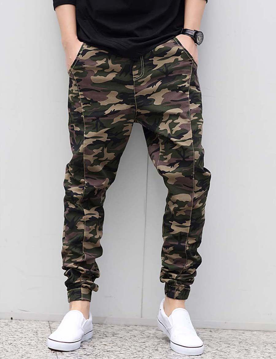Fashion Mens Joggers Military Army Green Camouflage Brand Pants Loose Trousers Elastic Waist ...