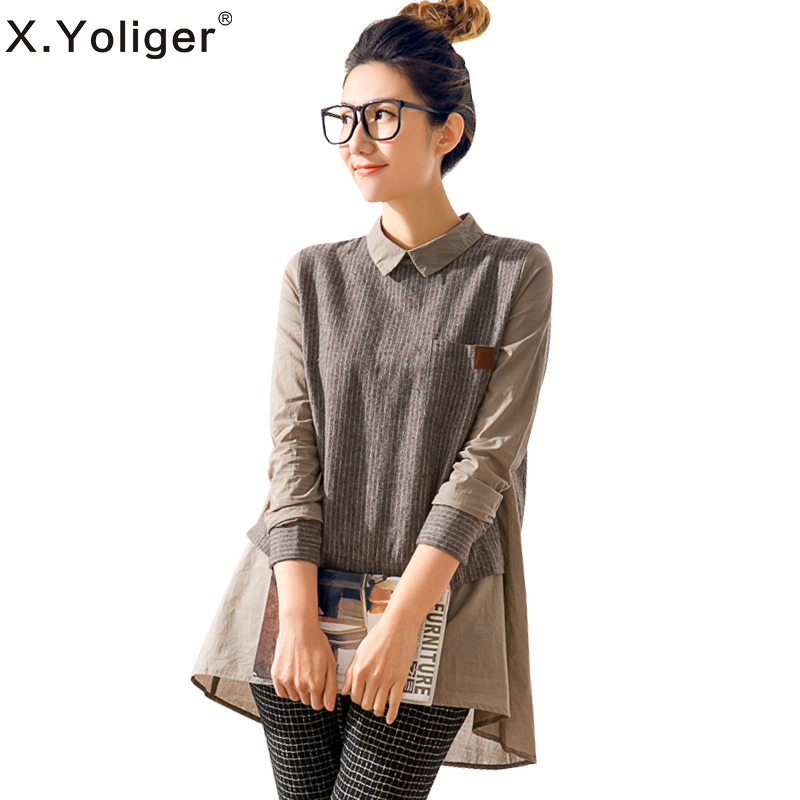 2015 new spring Korean version Fashion Blouse Turn-down Long Sleeve Patchwork Women's Shirts от Aliexpress INT