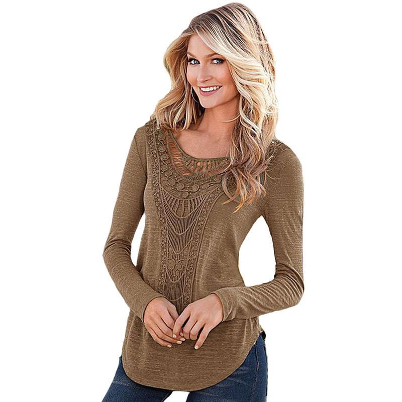 2017 New Fashion Women T Shirt Long Sleeve Autumn Sexy Solid Top Womens Hollow Plus Size Black Green Khaki Shirts Party