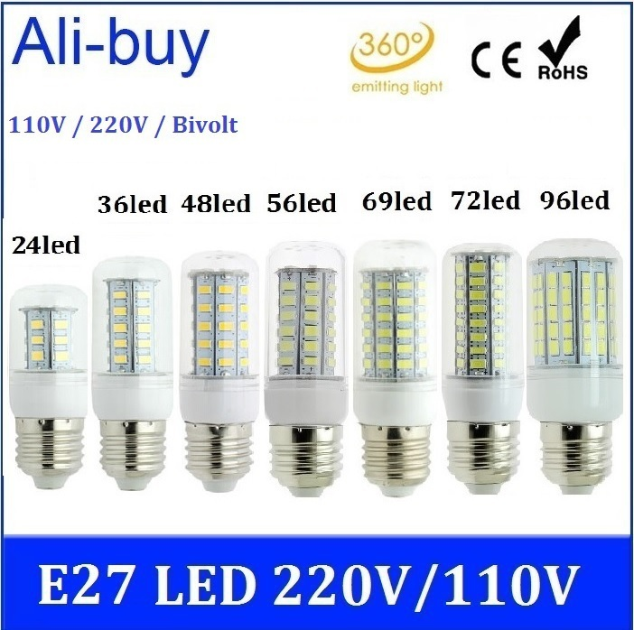 Lampada LED E27 220V 110V Bivolt Lamp Corn Bulb 20W 15W 12W 10W 7W 6W SMD 5730 96/ 72/ 69/ 56/ 48/ 36LED Candle Spot Light LR(China (Mainland))