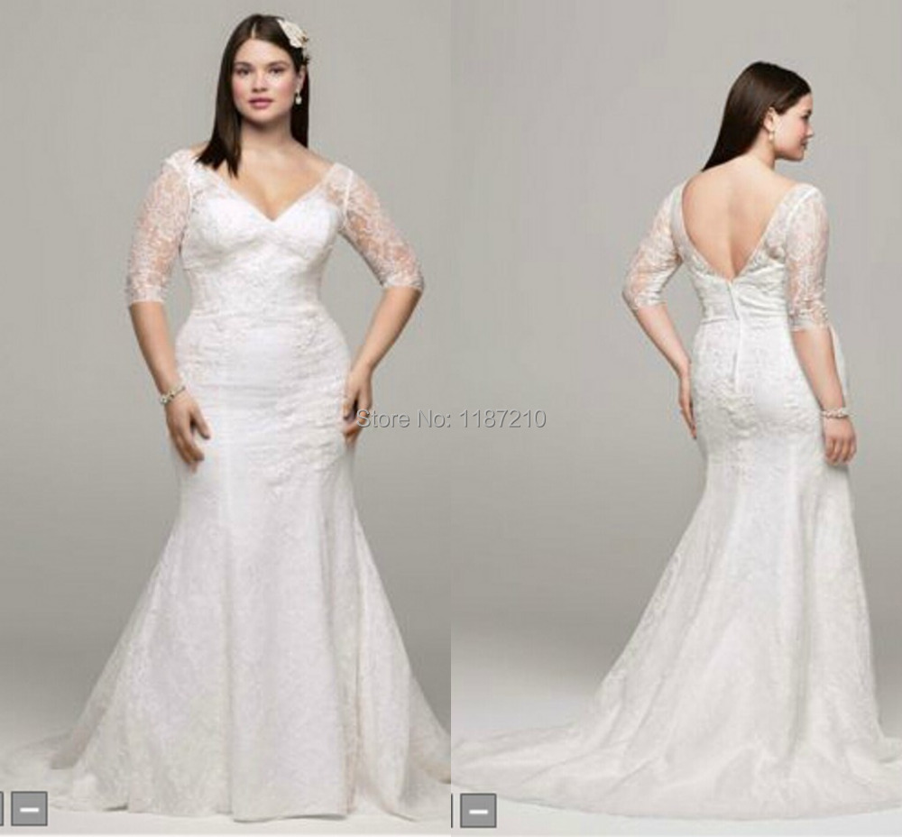 Aliexpress Buy Vintage Plus Size Wedding Dresses 2015 Discount Illusion Lace Half Sleeves