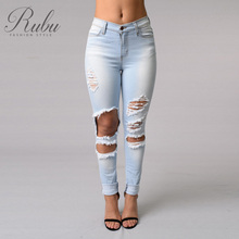 Buy 2017 spring section stretch slim feet high waisted pencil pants ripped jeans tight jeans pants for $18.29 in AliExpress store