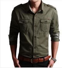 Camisa Masculina Casual Military Style Mens Shirts Long Sleeve,4 Colors Men Clothing Chemise Homme Slim Fit Shirt(China (Mainland))