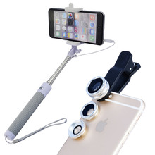 Buy 2017 New 6in1 Phone Camera Lentes Kit Clips Fish Eye Lens Wide Angle Macro Lenses Monopod Selfie Stick iPhone 5 6 s 7 Xiaomi for $9.61 in AliExpress store