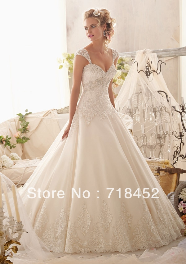 Princess wedding dress ball gown cap sleeve detachable for Lace sweetheart wedding dress cap sleeves