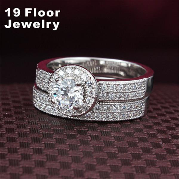 18K White Gold Filled Women Ring CZ Diamond Jewelry Luxury Wedding Bague ring set,Accessories Bijouterie Jewelry Ring(China (Mainland))