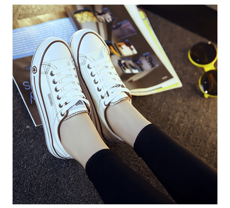 Women Casual Shoes Platform Canvas Shoes Summer Autumn Breathable Lace Up Flats White Ladies Leisure Shoes Zapatillas Mujer