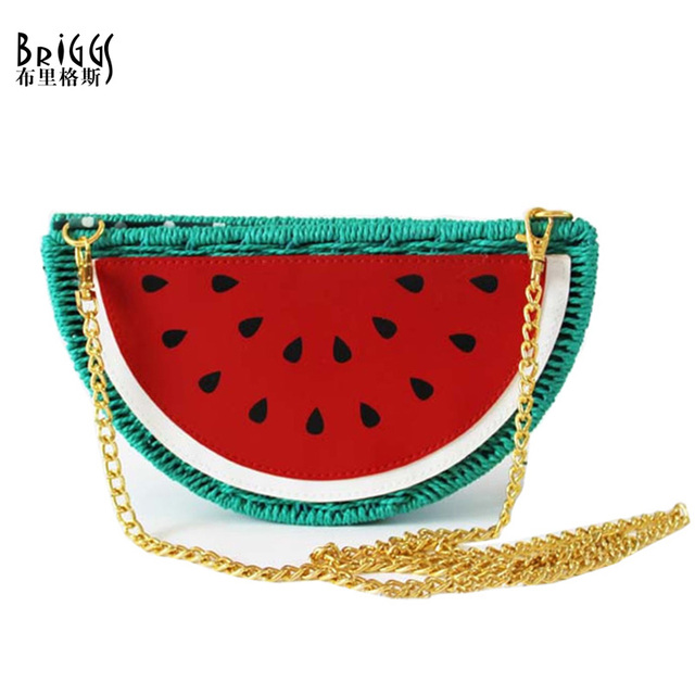 BRIGGS 2017 New Summer Style Fresh Watermelon Straw Bag Casual Beach Bag Purses and Handbags Crossbody Bags For Women