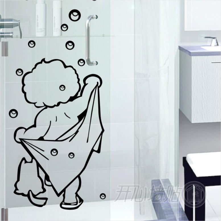 I Love Shower Wall Stickers Bathroom Glass Door Stickers Cute Children Shower Sticker Waterproof and Removable(China (Mainland))