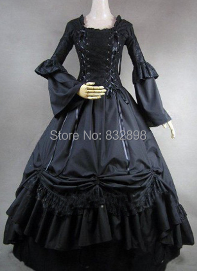 Long Sleeves Ball Gown Gothic Victorian Dress Black Stage Ball Gown(China (Mainland))
