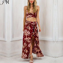 Sexy Women Bandage Dresses 2016 Bodycon Club 2 Piece Set Dress Bohemian Print Two Piece Outfit Summer Dresses(China (Mainland))