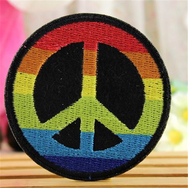 Embroidery iron on patches for clothes Fashion cute 6.4cm peace logo deal with it clothing DIY Motif Applique Free shipping(China (Mainland))