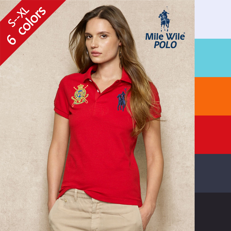 100 cotton fashion solid short sleeve polo ralph shirt for Plus size polo shirts ladies