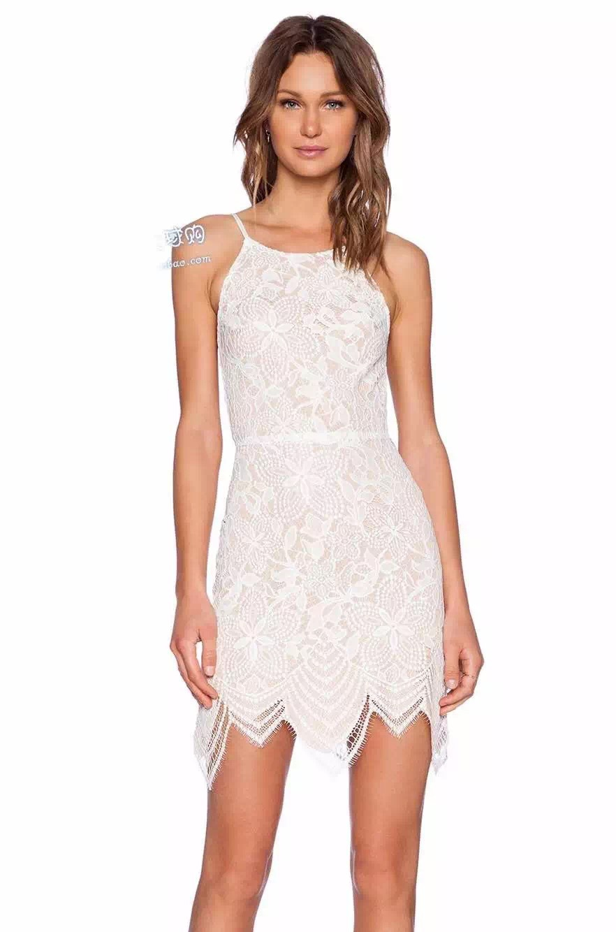 white halter dress with lace