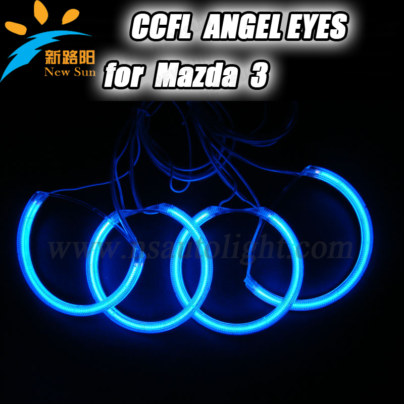 Free Shipping CCFL car head lamp angel eyes for projector lens halo ring light 12V DC ccfl angel eyes ring headlight for Mazda 3(China (Mainland))