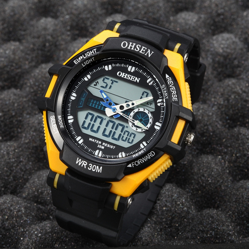 New OHSEN brand digital quartz mens waterproof wristwatches yellow dial silicone strap boys outdoor sport watches male gifts(China (Mainland))
