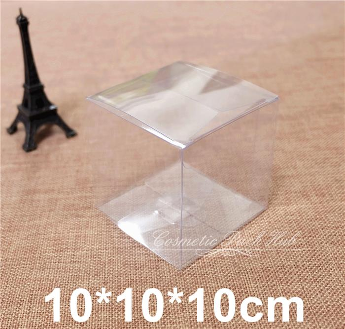 Clear Gift Display Cube Boxes Plastic Cosmetic Packaging Boxes Containers 10*10*10cm Free Shipping(China (Mainland))