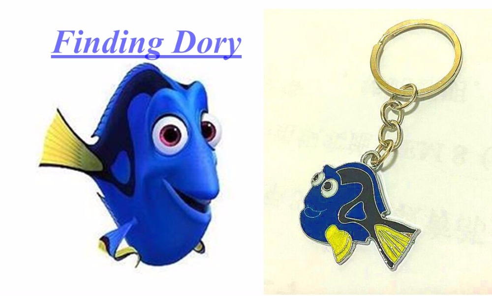 FREE SHIPPING BY DHL 200pcs/lot 2016 Newest Finding Dory Blue Fish Key Chains Metal Zinc Alloy Keyrings for Gifts(China (Mainland))