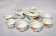 10pcs smart China Tea Set, Pottery Teaset, Goldfish,A3TM03,Free Shipping