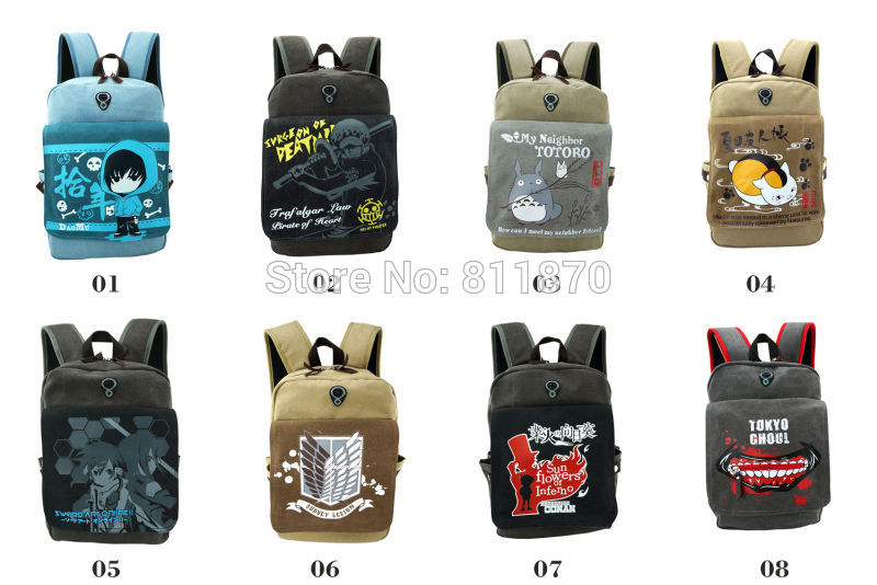 Free Shipping Cosplay Tokyo Ghoul ETC. Cartoon Image Pure Cotton Canvas Backpack Schoolbag Travelling Bag Hiking Bag Camping Bag(China (Mainland))