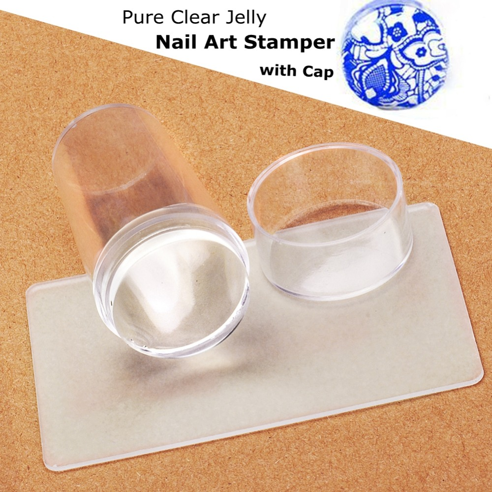 2016 New Design Pure Clear Jelly Silicone Nail Art Stamper Scraper with Cap Transparent 2.9cm Nail Stamp Stamping Tools(China (Mainland))