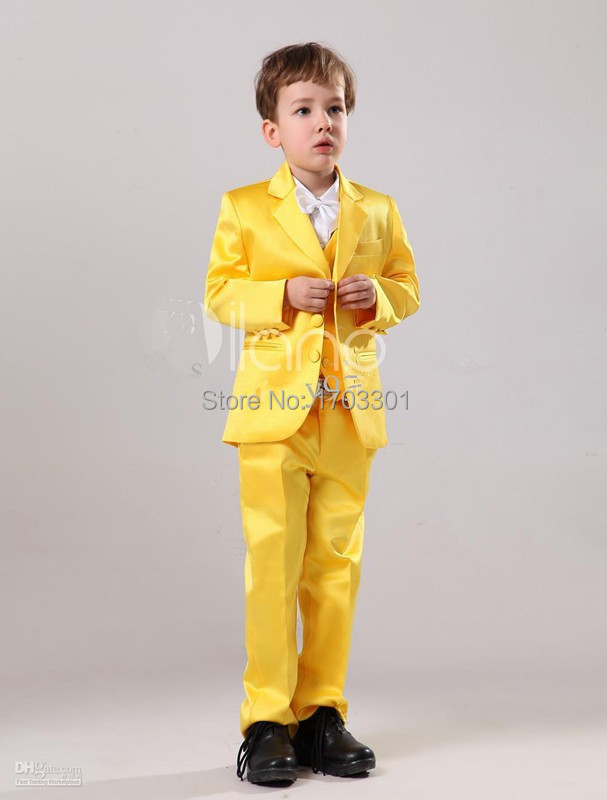 Gorgeous Yellow Satin Bridal Ring Bearer Suits 2015 Tuxedos Boy Birthday Party Suits(China (Mainland))