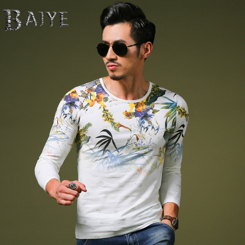 The latest design trends 2015 fashion casual Slim men's clothing brand luxury T-shirt men's long-sleeved t-shirt(China (Mainland))