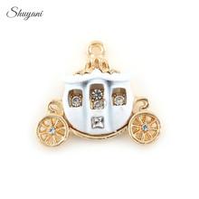 Buy 20*22mm Alloy Gold Crystal Pumpkin Car Pendant Charms Enamel Oil Drop Pumpkin Carriage Charms fit DIY Bracelet Jewelry Findings for $6.73 in AliExpress store