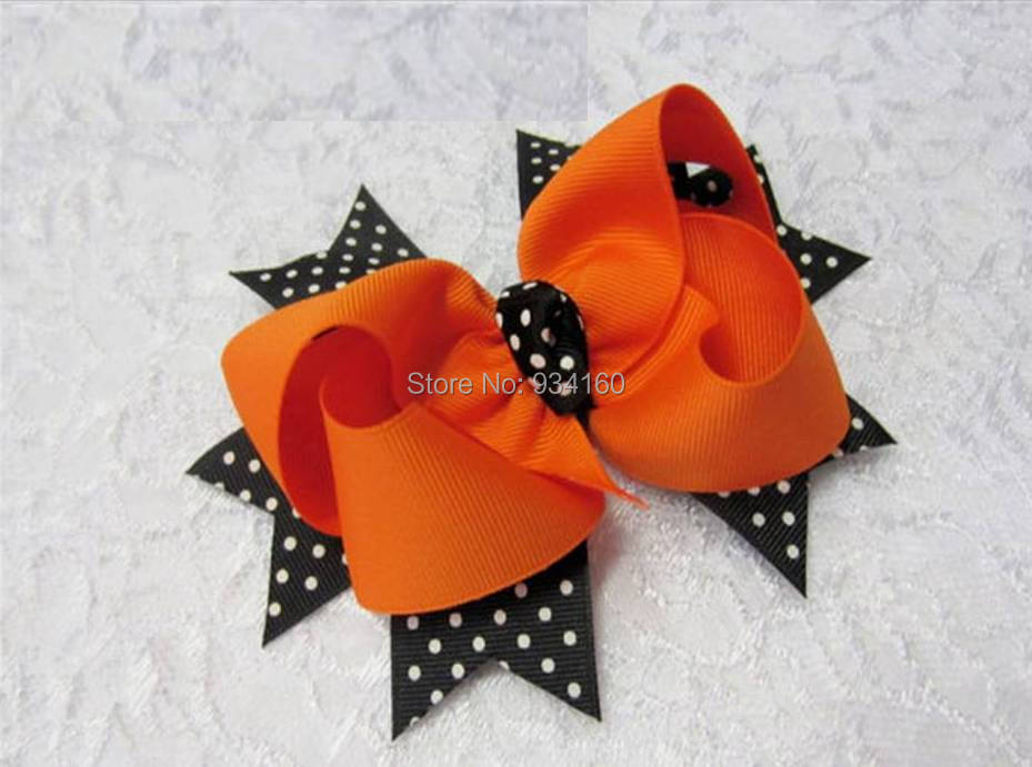 """4"""" Large Black and Orange Bow with Spikes Halloween hair bow, orange and black hairbow headwear headdress clip 30pcs(China (Mainland))"""