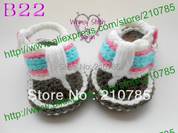 Free Shipping Crochet Baby Sandals, baby boy Striped Flip Flops, Crochet Baby Shoes, Sizes 0-12 Months 100pairs / lot(China (Mainland))