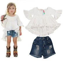 Ins hot style Baby girls suit fashionable dovetail knit skirt + jeans pants of the girls kids clothes free shipping(China (Mainland))