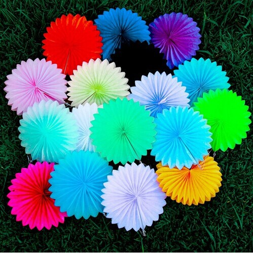 50pcs 35cm Big Chinese Tissue Paper Fans Wedding Decoration Handmade Decorative Flowers Paper Fans Crafts Home Hanging Supplies(China (Mainland))