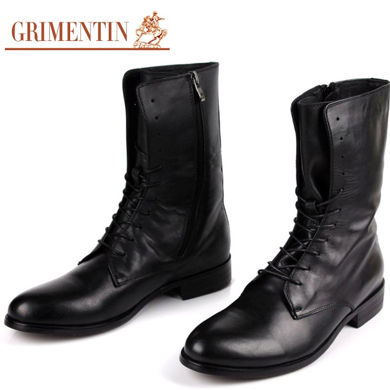 Big Size Designer Brand Mens Motorcycle Boots Mid-Calf Genuine Leather Lace-up Black Fur Snow Winter Work Botas Size38-46 BH2(China (Mainland))